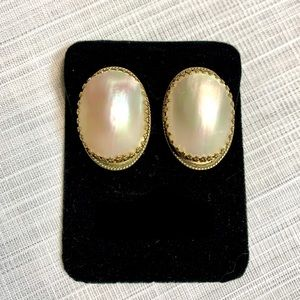 Whiting and Davis Gold Toned MOP Clip-on Earrings